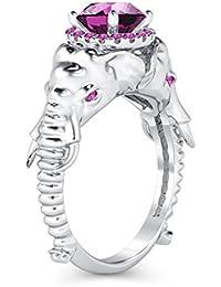 Silvernshine Halo Round Cut Simulated Pink Sapphire CZ Diamond 18K White Gold Plated Elephant Ring