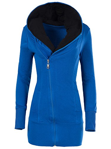 Dive Kapuzen-jacke (N007 Damen Pullover Long Kapuzenpullover Sweatshirt Hoodie Jacke Langarm , Farben:Blau;Größen:XL)