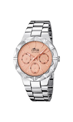 Lotus Women's Quartz Watch with Rose Gold Dial Analogue Display and Silver Stainless Steel Bracelet 15919/2