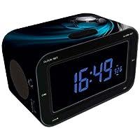 """BigBen RR30 AU317152 - Radio despertador (1 W, pantalla LCD de 3"""", 9 V, 50 Hz, FM, control de volumen, luz posterior), diseño de soccer, multicolor"""