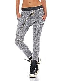 Fashion4Young Damen Haremshose Hose Baggy Boyfriend Freizeithose Jogginghose Sporthose Leder look
