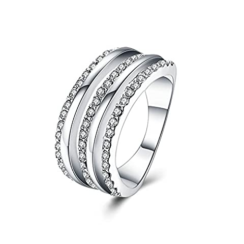 Gnzoe Jewelry 3 Lines Crystal Silver Women Jewelry Engagement Rings Size 8