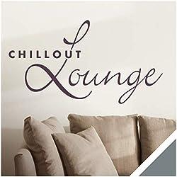 Exklusivpro Wandtattoo Spruch Wand-Worte Chillout Lounge inkl. Rakel (wrt07 grau) 100 x 54 cm mit Farb- u. Größenauswahl