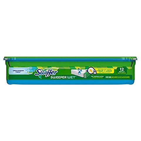 Swiffer Sweeper Wet Mopping Pad Refills for Floor Mop Open Window Fresh Scent 12 Count by Swiffer (12 Ct Wet Swiffer Refill)