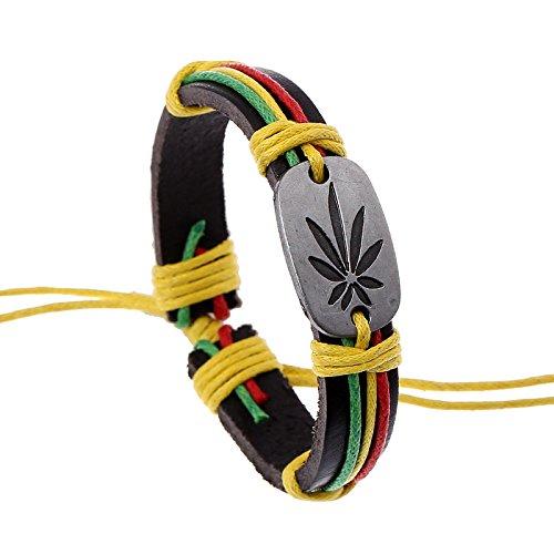TOUYOUIOPNG Punk Jamaika Reggae Marihuana Leaf Lederarmband Pot Leaf Armband Cannabis Armband Pot Leaf