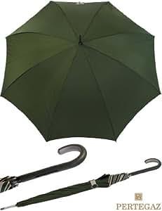 Élégant Léger Femme parapluie de PERTEGAZ–avec poignée en cuir Olive