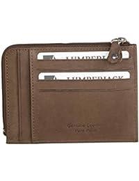 Cartera hombre LUMBERJACK cognac en cuero bolsillo zip tarjetas de credito A5487