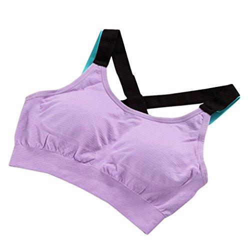 Soutien-gorge de sport Angelof Femmes Fitness Brassiere Yoga ExéCuter RembourréS Sport Sans Couture Lingerie Violet