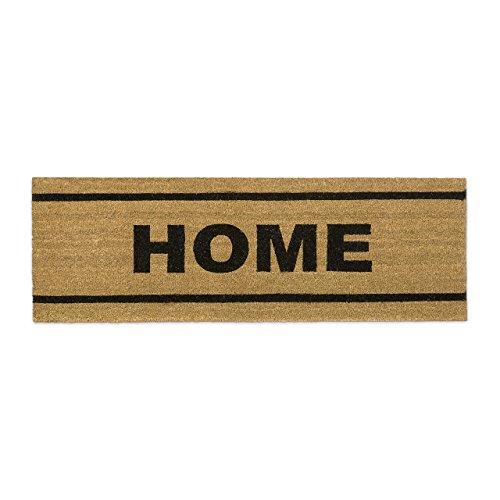 Relaxdays Fußmatte lang Kokos 40 x 120 cm mit Spruch HOME Kokosmatte als Fußabtreter für breite Türen Innen und Außen mit rutschfester Gummi-Unterseite als Türvorleger und Türmatte, natur
