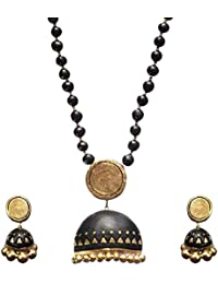 Chhayamoy Black Gold Terracotta Large Pendant Long Necklace Jewellery Set