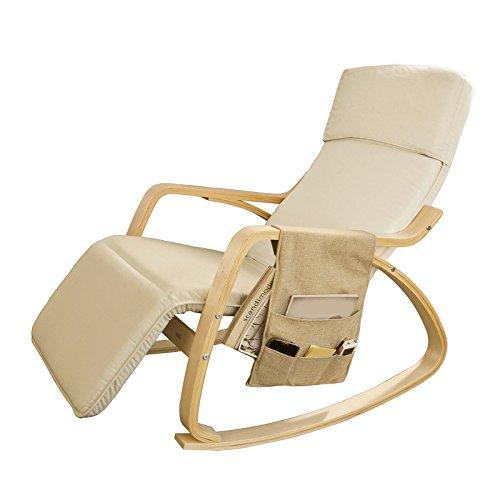 SoBuy® Neu-Schaukelstuhl (verstellbares Fussteil),Relaxstuhl,Relaxsessel mit Tasche, FST16-W