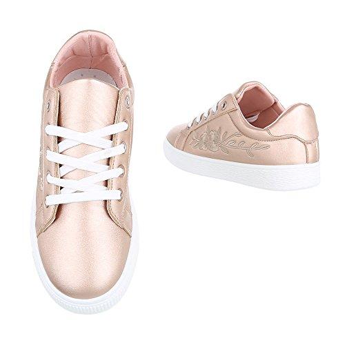 Ital-Design Sneakers Low Damenschuhe Sneakers Low Sneakers Schnürsenkel Freizeitschuhe Rosa Gold 6732-Y