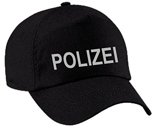 CAP Baseball POLIZEI Police Cop Kappe Mütze Karneval Fasching (schwarz/silber)
