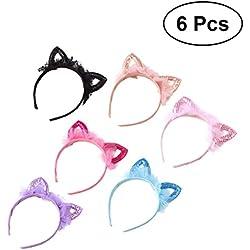 Lurrose Diadema de oreja de gato de niña, precioso lentejuelas de fiesta de lentejuelas para el pelo 6pcs para niños pequeños (azul + negro + rosa + rosa + caqui + morado)