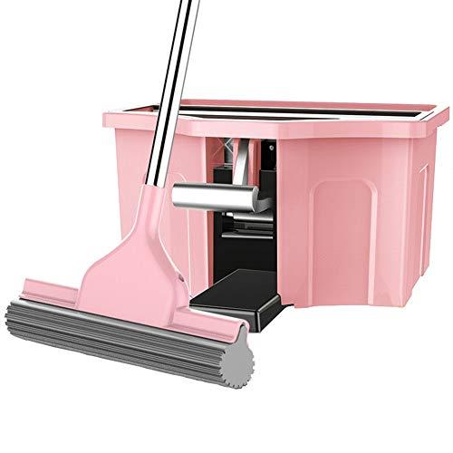 GHH Turbo Easywring Und Clean Komplett Set, Mit Kraftfaser Wischmop Und Rotationseimer Mit Powerschleuder Für Die Bodenreinigung,Pink