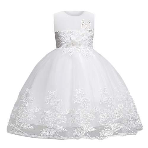 Livoral Mädchen Hochzeitskleid Partykleid Blumenmädchen Kleid Prinzessin Stickerei Schönheit Seite Kleid Party Brautjungfer Kleid(Weiß,140)