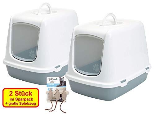 PETGARD 2er Sparpack Katzentoilette Haubentoilette Oscar mit gratis Spielzeug
