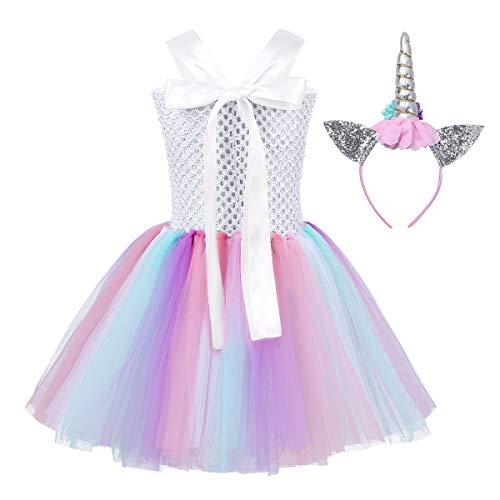 CHICTRY Girls Kids Pastel Birthday Costumes Holiday Mythical Tutus Outfit Dress Ballet with Glitter Headband set 01 Eyelash White  4-5 Years