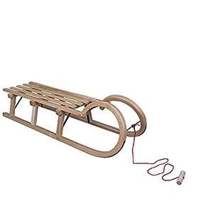 ScSPORTS 115 cm Schlitten Hörnerschlitten mit Ziehseil Knauf Holzschlitten Rodel