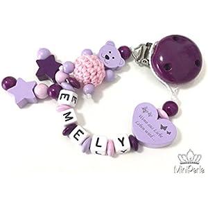 Schnullerkette mit Namen - Bär - Häkelperle - Stern - Wenn aus Liebe Leben wird... - Mädchen - lila - rosa - flieder - Stern - C001