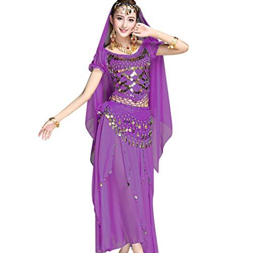 TianBin Damen Chiffon Bauchtanz-Kostüm Kurzarm Top Röcke Halloween Kostüm Alle Accessoires (Violett#4, One ()