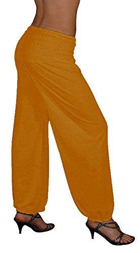 S&LU tolle Damen Haremshose, Pluderhose in 4 Größen - !NEU! Jetzt auch im Camouflage-/Tarn-Design !NEU! - von XXS bis XXXXXXL (6XL) wählbar Curry Einheitsgröße S-XXL