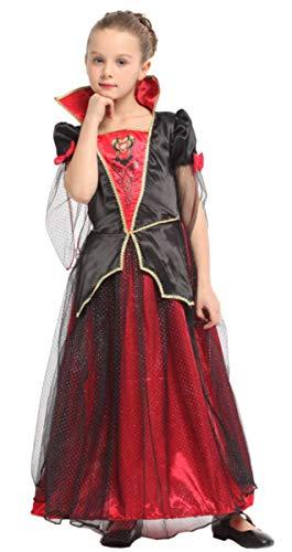EMIN Elegante Vampirin - Vampir Kostüm Kinder Mädchen Halloween Vampir Kostüm Kind Mädchen Lady Prinzessin Kostüm Kleid Vampirkleid Dracula für Halloween Cosplay Fasching Verkleidung Karneval (Teenager Holloween Kostüm)