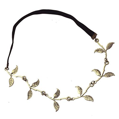 HITOP Retro Griechisch elegant Damen Süß Strass olive Blätter headwrap Stirnband Haarreif Haarband Gold überzogenes Haarschmuck Stirnschmuck Hochzeit (2 farben) (bronze)