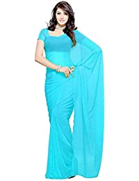Fantastic Trendz Women's Chiffon Saree With Blouse Piece (Plain Skyblue_Sky Blue)