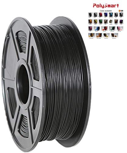 Polysmart PLA-UP Filament 1,75 mm 1kg, fuer 3D Drucker und Stift, Erweiterte formel, strenge qualitaetskontrolle. Schwarz/black