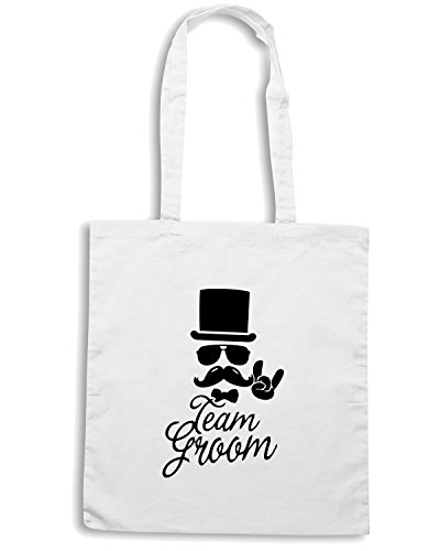 T-Shirtshock - Borsa Shopping MAT0062 Moustache Team Groom Maglietta Bianco