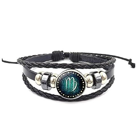 Axibi Mode Femme Hommes 12 Constellations Bracelet en cuir perlé tissé Pendentif Bijoux Cadeaux (Virgo)