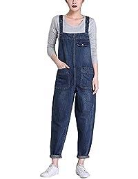 Femmes Décontractée Bib Pantalon Salopette Jeans Jumpsuit Grande Taille Couleur Unie