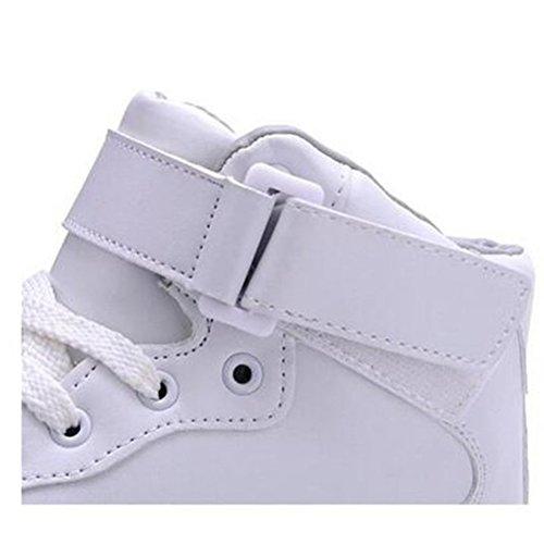 [Presente:piccolo asciugamano]JUNGLEST® Unisex High Top LED lampeggiante scarpe da ginnasti Bianco