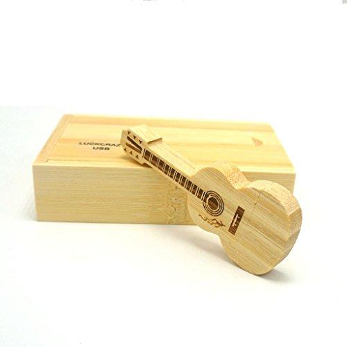 Chitarra memoria usb,luckcrazy chiavetta usb 2.0 wooden guitar thumb flash drive con scatola 16gb (16gb, chitarra di legno)