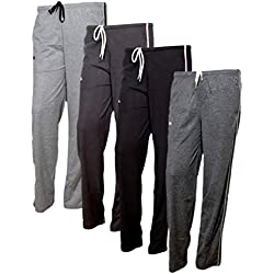 Indistar Women's Premium Cotton Lower with 1 Zipper Pocket and 1 Open Pocket(Pack of 4)_Grey::Black::Grey::Grey-38