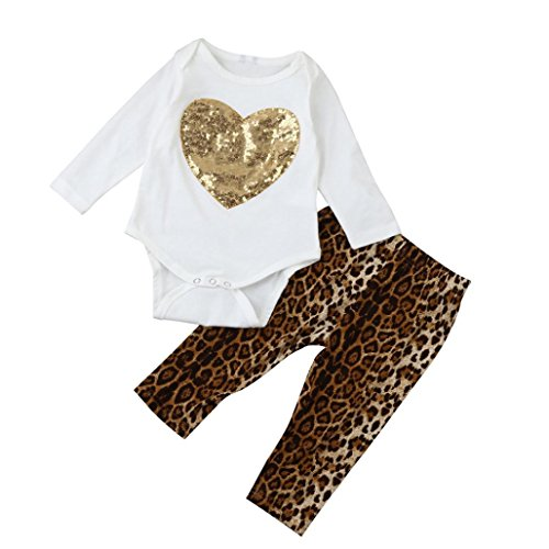 Hirolan Baby Mädchen Sequins Herz Spielanzug Tops + Leopard Hose Neugeboren Säugling Outfits Set (100cm, Weiß) (Gefütterte Wool Jacke Herren Classic)