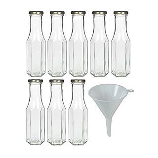 8x Glasflasche 250 ml zum selbst befüllen, Smoothieflasche Milchflasche Saftflasche inkl. Trichter