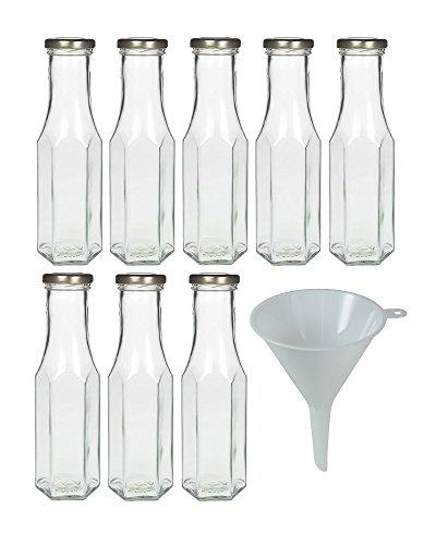 8x leere Glasflasche 250 ml zum befüllen, Smoothieflasche Milchflasche Saftflasche