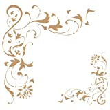 Stencil Deco Orlatura 027 Angolo Filigrana. Misure: Dimensioni Esterne dello Stencil: 20 x 20 (cm) Misure Design: 14,1 x 13,6 (cm) Misura Figura 1: 9,3 x 10 (cm) Misura Figura 2: 5 x 5,3 (cm)