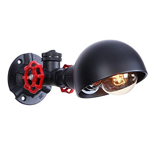 Dome-light-basis (Industrielle Wandleuchte Lampen Leuchte mit Metall Wasserrohr Licht Halter und halbrunden Dome-Schatten, Vintage Wandleuchte Leuchte for Flur, Schlafzimmer Nacht, Scheune, Lager E27 A + (schwarz))