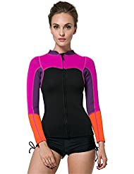 SANANG2MM Neoprene Womens à manches longues Veste de plongée sous marine Zipper avant Warm Wetsuit Top