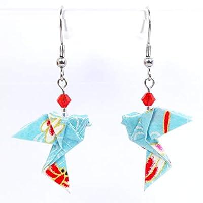 Boucles d'oreilles colombes origami verticales bleues avec des touches de rouge - crochets inox