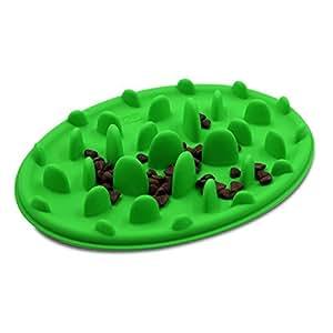 Silicone Slow Feeding Non Slip Pet Bowl Slows down eating Green