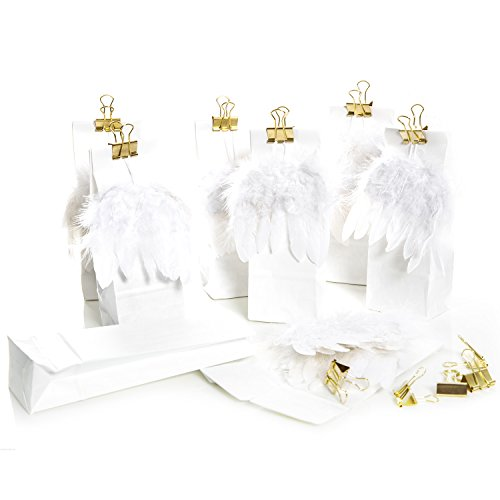 10 weiße Gastgeschenk Papiertüten mit Engels-Feder-Flügel und goldener Metallklammer Tüte 7 x 4 x 20,5 cm, lebensmittelecht!; Verpackung für Geschenke zu Weihnachten, Hochzeit, Kommunion -