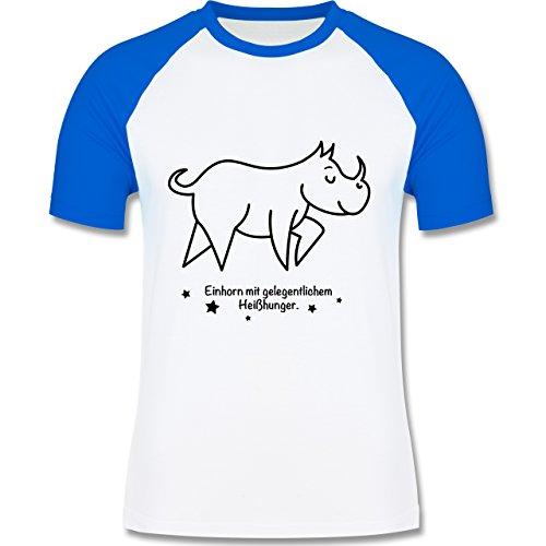 Sonstige Tiere - Einhorn mit gelegentlichem Heißhunger - zweifarbiges Baseballshirt für Männer Weiß/Royalblau