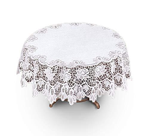 Neue weiße Spitze ø Tischdecke rund 120 cm (119,38 cm) eignet sich hervorragend als Geschenk/Jubiläum (120 Weiße Runde Tischdecke)