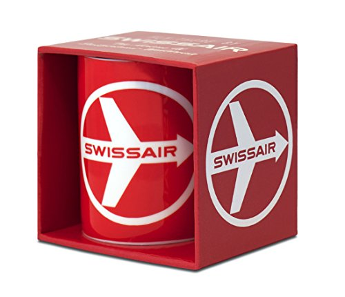 Airlines - Swissair - Fly There By Swissair Porzellan Tasse - Kaffeebecher - rot - Lizenziertes Originaldesign - LOGOSHIRT (Airline-geschirr)
