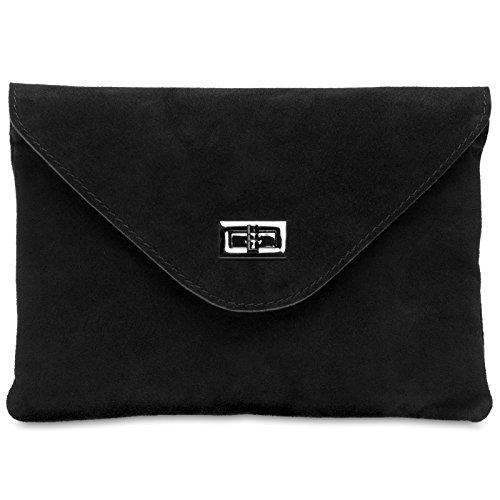 CASPAR TL719 Damen Leder Envelope Clutch, Farbe:schwarz;Größe:One Size (Leder-umschlag Schwarzes)