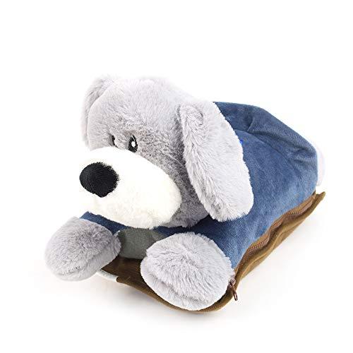 Enrico coveri collection borsa acqua calda elettrica cane in morbido tessuto, scaldamani imbottito completo di peluche, perfetto anche come regalo (blu)